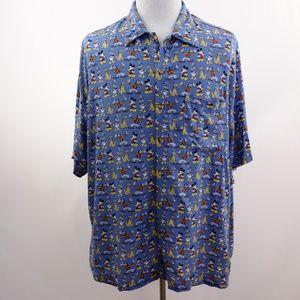 Disney Print Rayon Shirt Button Front